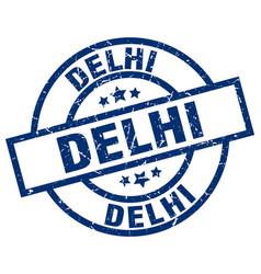 delhi blue round grunge stamp vector image