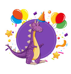 dinosaur at a party vector image