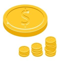 Dollar coin icon Gold metal vector