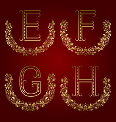 E f g h vintage monograms in floral wreaths vector