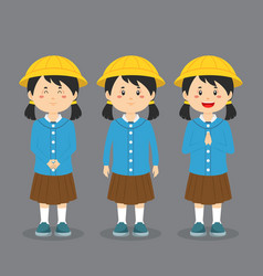 Elementary school character with expression vector