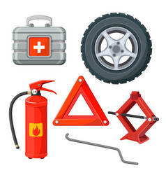 Emergency first aid kit in car fire extinguisher vector