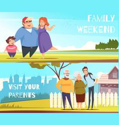 Families horizontal banners vector