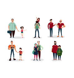 Fathers day cartoon with group of vector