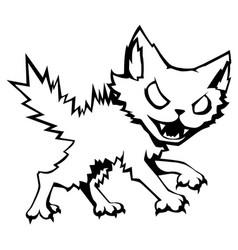 Feral cat line cartoon vector