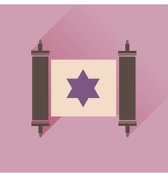 Flat icon with long shadow Torah scroll vector