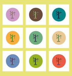 Flat icons halloween set of gallows on a tree vector