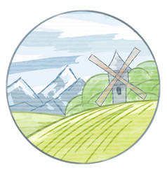 Freehand drawing landscape with watercolor vector