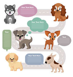 Funny cartoon puppy pet dogs with speech bubbles vector