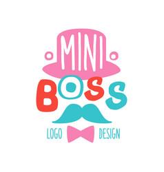 Funny colorful mini boss logo original design vector