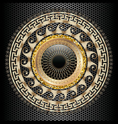 Greek key meander round 3d mandala pattern vector