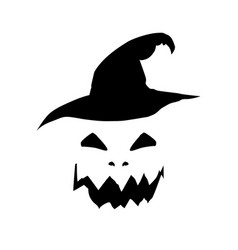halloween of scary pumpkin jack face and wi vector image