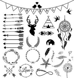 Hand drawn arrows Tribal designs vector image