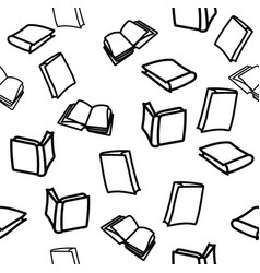 hand drawn books on white background pattern vector image