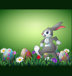 Happy easter bunny cartoon with decorated easter e vector