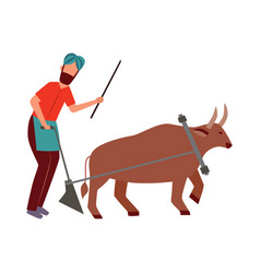 Indian farmer male with plough and cattle animal vector