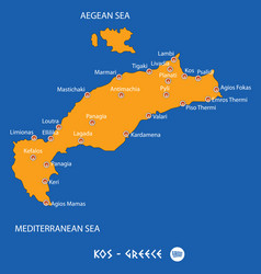 Island of kos in greece orange map and blue vector