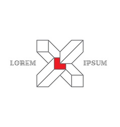 isometric logo with letter x 3d logotype vector image