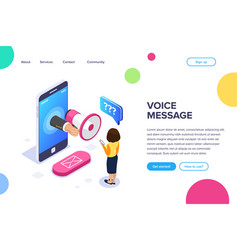 Isometric voice message concept megaphone in hand vector
