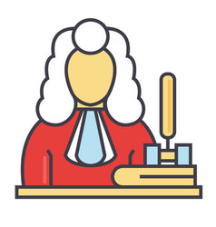 Judge gavel justice law concept line vector