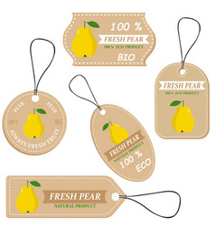 labels with various fruitsfor pear vector image