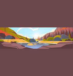 Lake in front mountain range sunset forest vector
