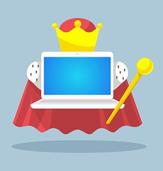 Laptop emperor with a scepter and a crown on vector