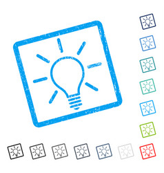 Light bulb icon rubber watermark vector