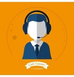 Man headphone avatar call center design vector