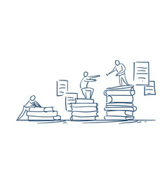 Man on books stack give helping hand education vector