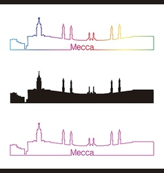 Mecca skyline linear style with rainbow vector image