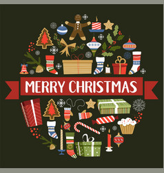 merry christmas symbols new year signs set vector image