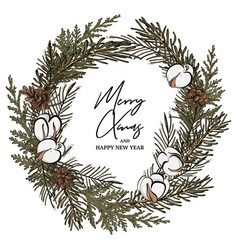 modern hand-drawn fir wreath with pine cones and vector image
