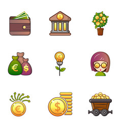 money icons set cartoon style vector image