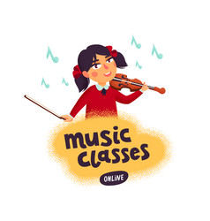 Music school violinist boy character playing vector