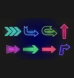 Neon arrows bright glowing arrow signs outside vector