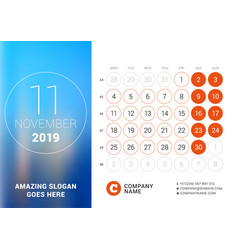 november 2019 desk calendar for 2019 year design vector image