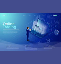 online trading on stock exchange at home isometric vector image