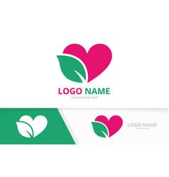 organic heart logo combination love and vector image