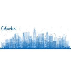 outline columbus skyline with blue buildings vector image