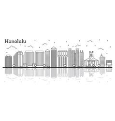 outline honolulu hawaii city skyline with modern vector image