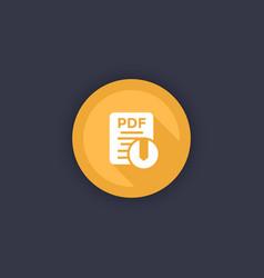 pdf file download icon round button vector image
