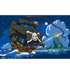 Pirateaposs Ship Sailing to the Skull Island vector image