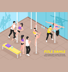 Pole dance training isometric vector