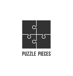 Puzzle pieces flat icon for apps and web vector