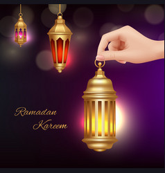 ramadan kareem background hand holding islamic vector image