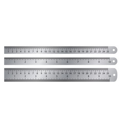 realistic metal ruler markup for 10 inches vector image