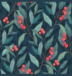 Red berries seamless pattern vector