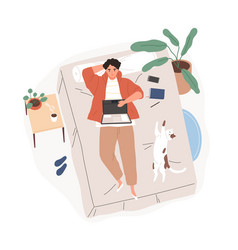 Relaxed freelancer guy lying on bed with laptop vector