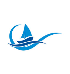 Sailboat logo with ocean wave sing symbol vector